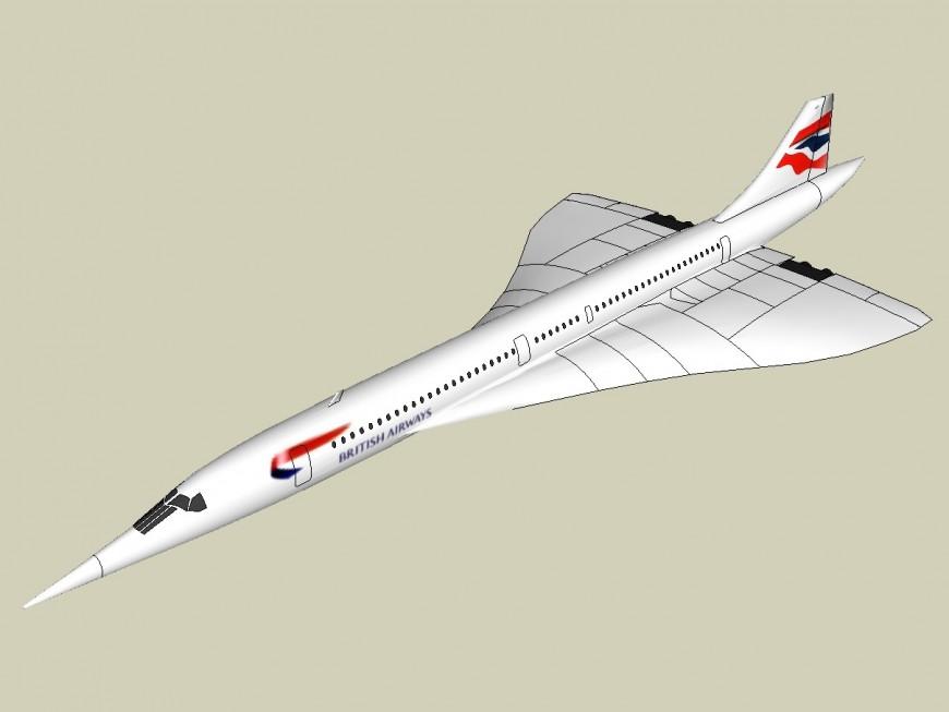 Detail 3d model of British airway airplane sketch-up file