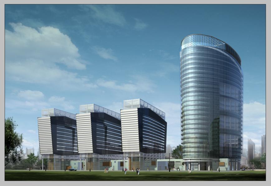 Detail 3d model of commercial building elevation photoshop file