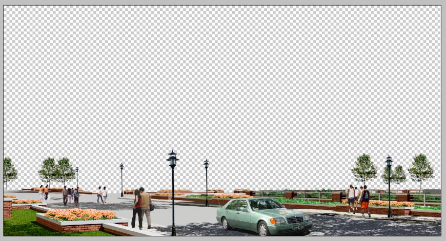 Detail 3d model of road way elevation photoshop file