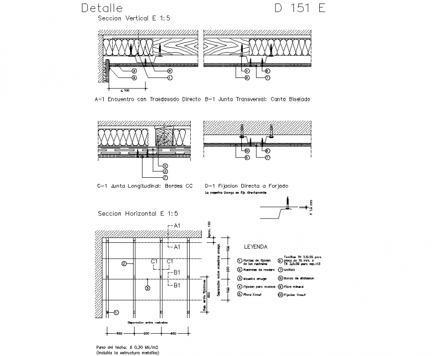 Detail American ceiling plan and section autocad file