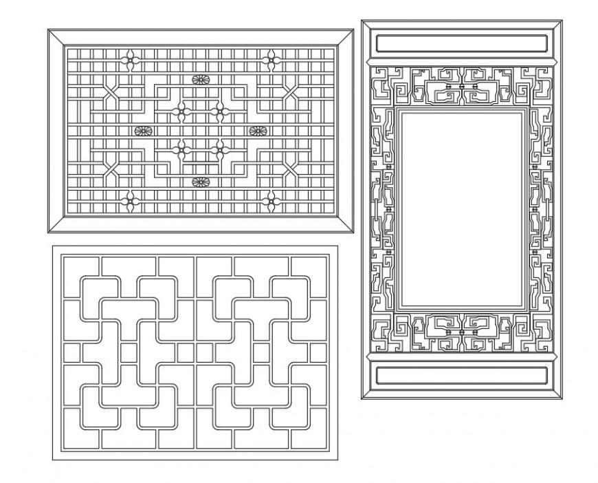 Detail ancient window autocad file