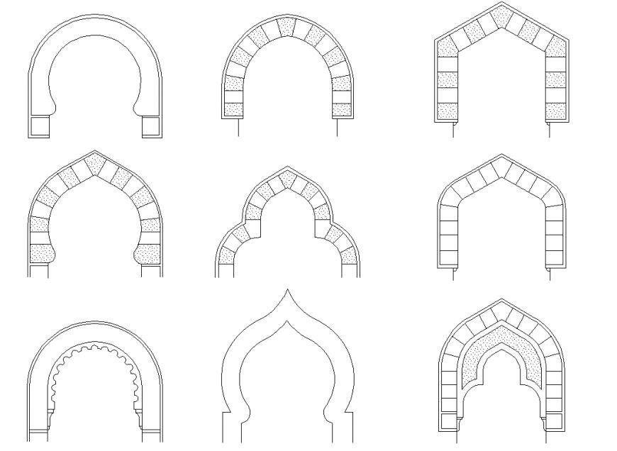 Detail Arches section plan autocad file concrete mortar