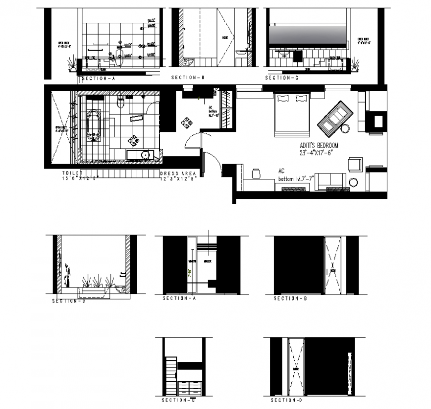 Detail bedroom plan and section 2d view layout autocad file