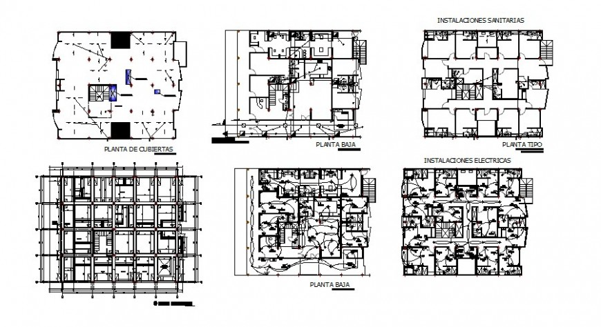 Detail building sanitary and electrical installation 2d view layout autocad file