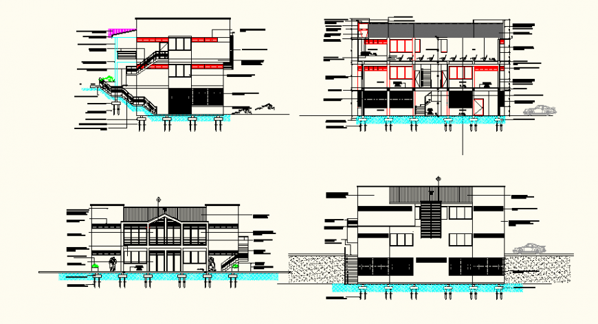 Detail bungalow plan and elevation AutoCAD file