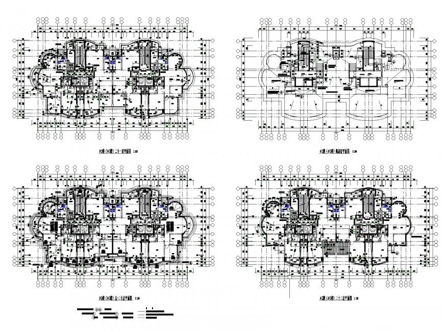 Detail Centre line commercial building plan dwg file