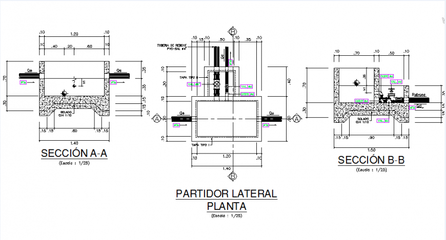 Detail channel plan and section dwg file