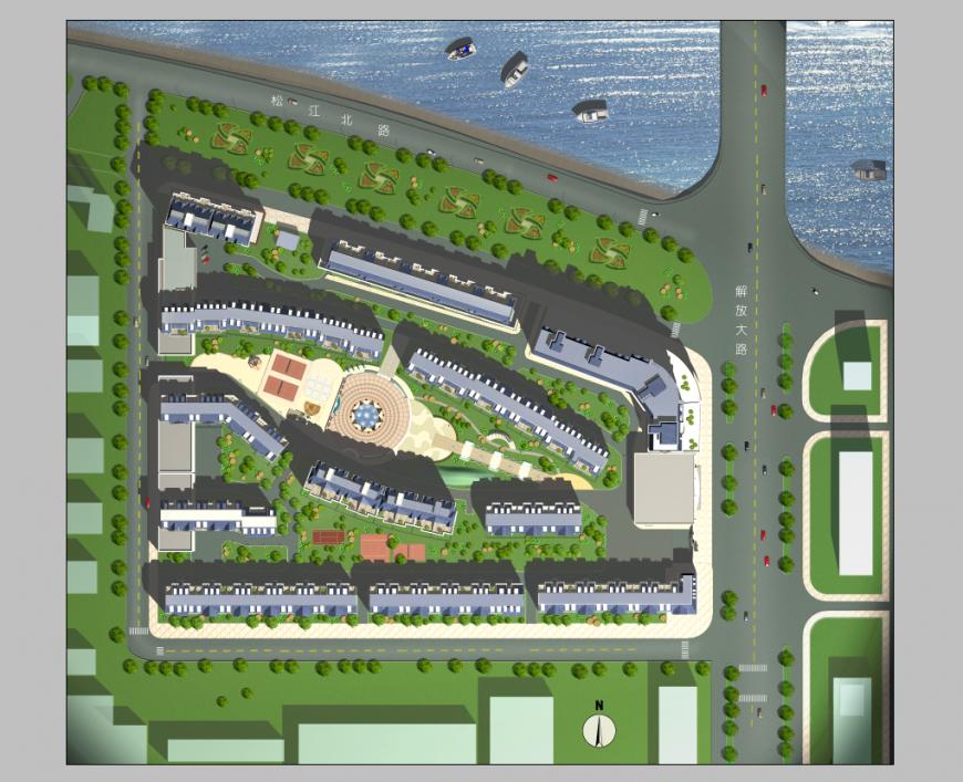 Detail commerce area elevation 3d model Photoshop file