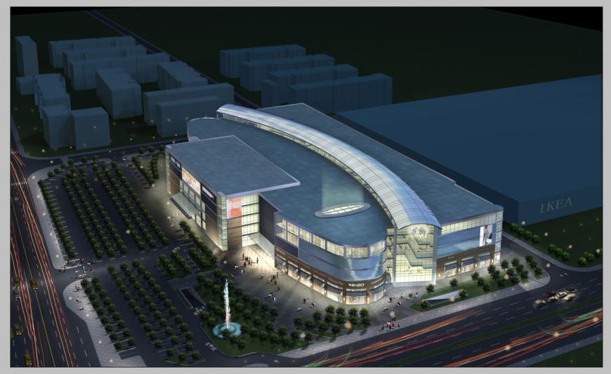 Detail commerce hub elevation 3d model layout Photoshop file