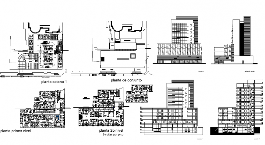 Detail commercial complex building elevation, plan and sectional layout file