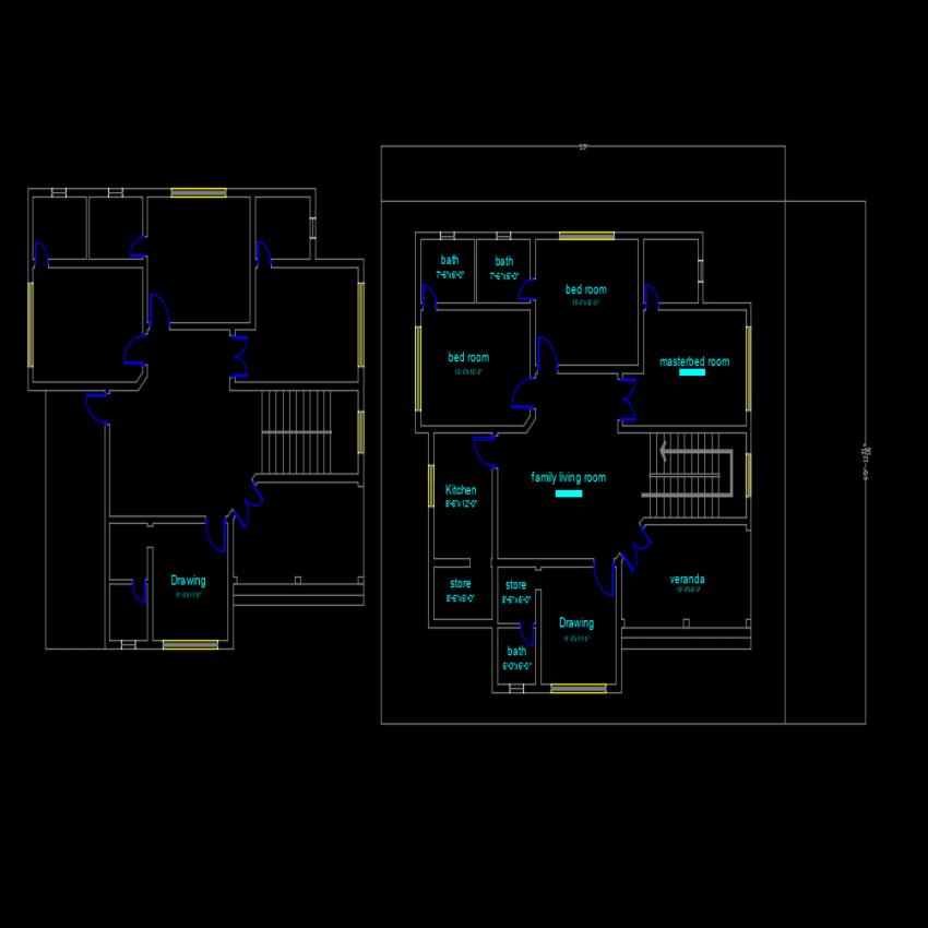Detail deposit house plan autocad file