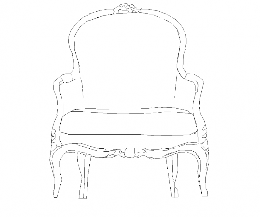 Detail dining chair elevation 2d view layout autocad file
