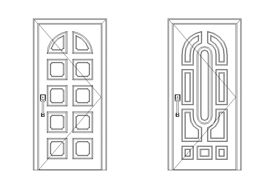 Detail door elevation 2d view CAD furniture layout dwg file