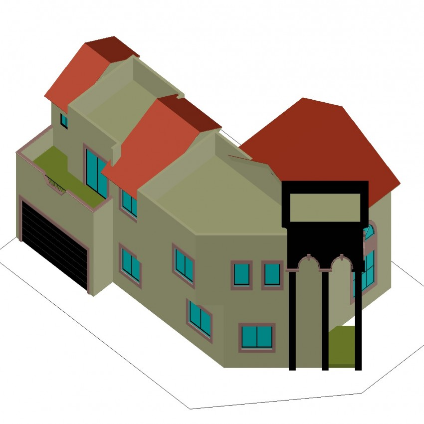 Detail drawing of 3d building.