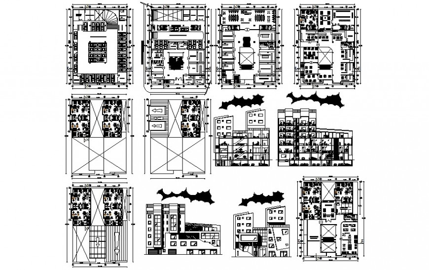 Detail drawing of apartments plans elevation and section dwg file