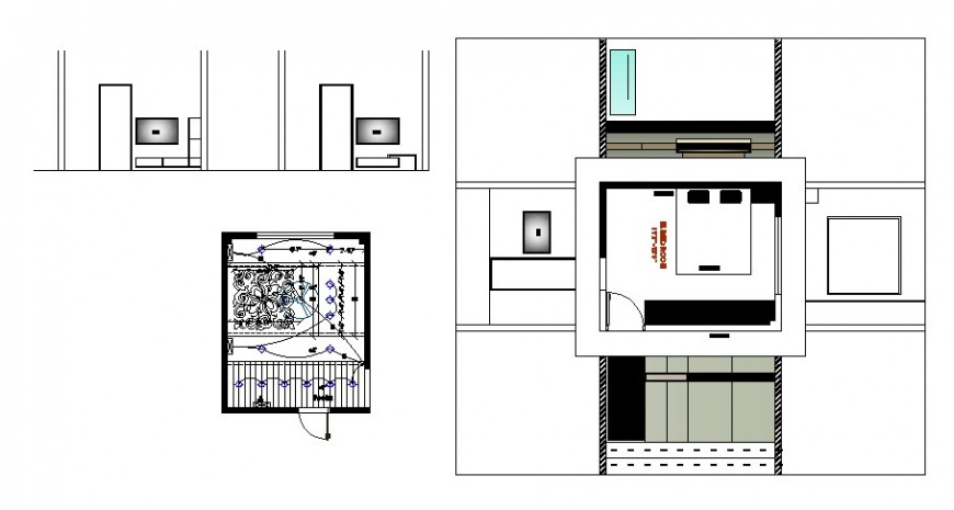 Detail drawing of bedroom and drawing room area autocad file