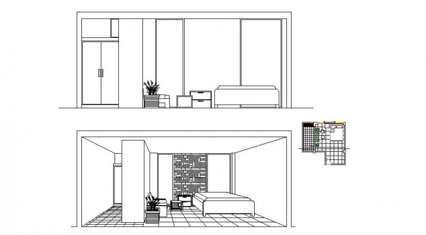 Detail drawing of bedroom interior in dwg file.