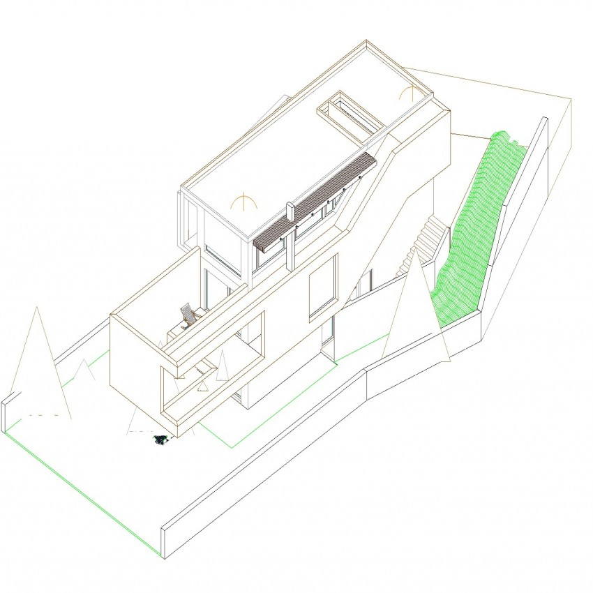 Detail drawing of bungalow in 3d view.