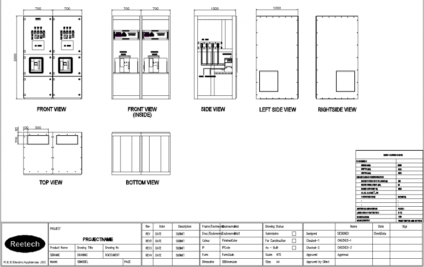 Detail drawing of electric appliances in dwg file.