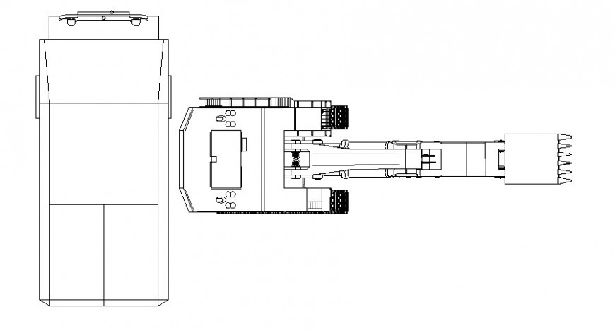 Detail drawing of excavator machine drawing in AutoCAD