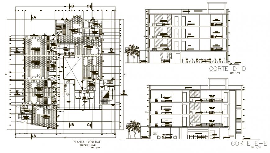 Detail drawing of hotel floor plan in dwg file