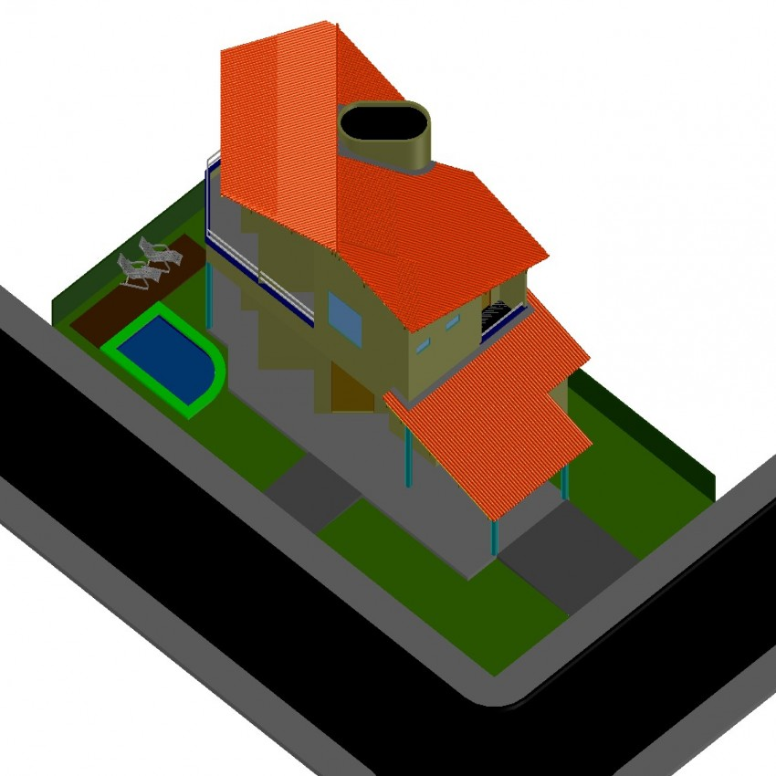 Detail drawing of house in dwg file.