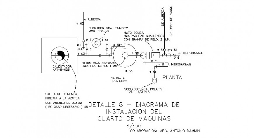 Detail drawing of installation diaphragm autocad file