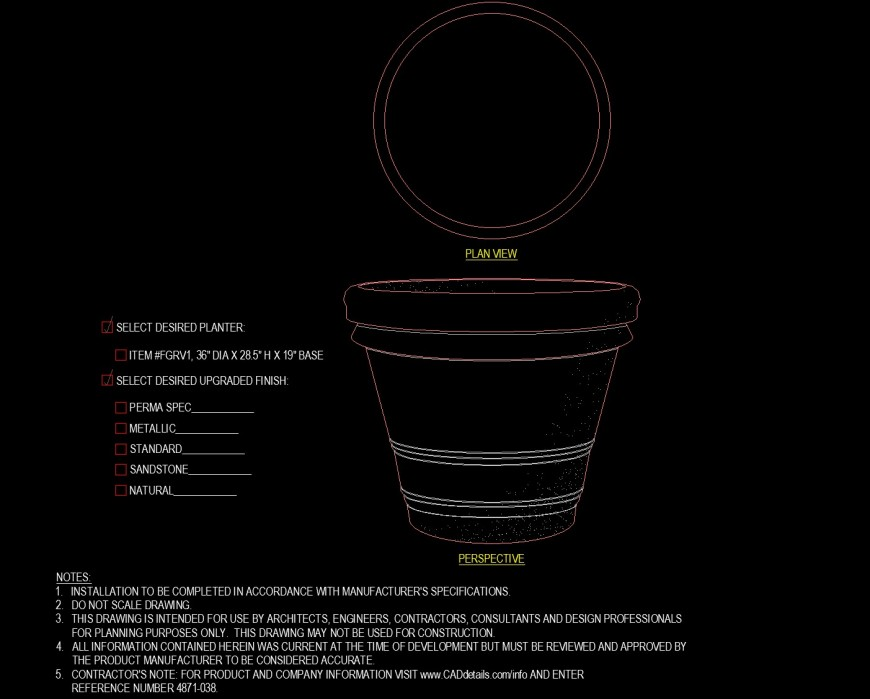 Detail drawing of planter in dwg file.
