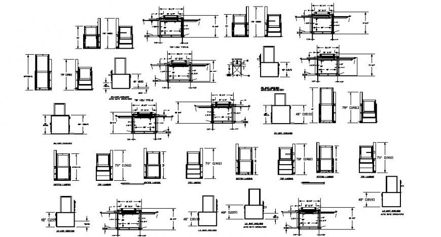 Detail drawing of the types of elevator in dwg AutoCAD file.