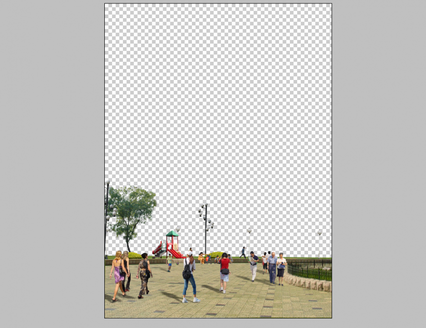Detail foot path elevation 3d model Photoshop file
