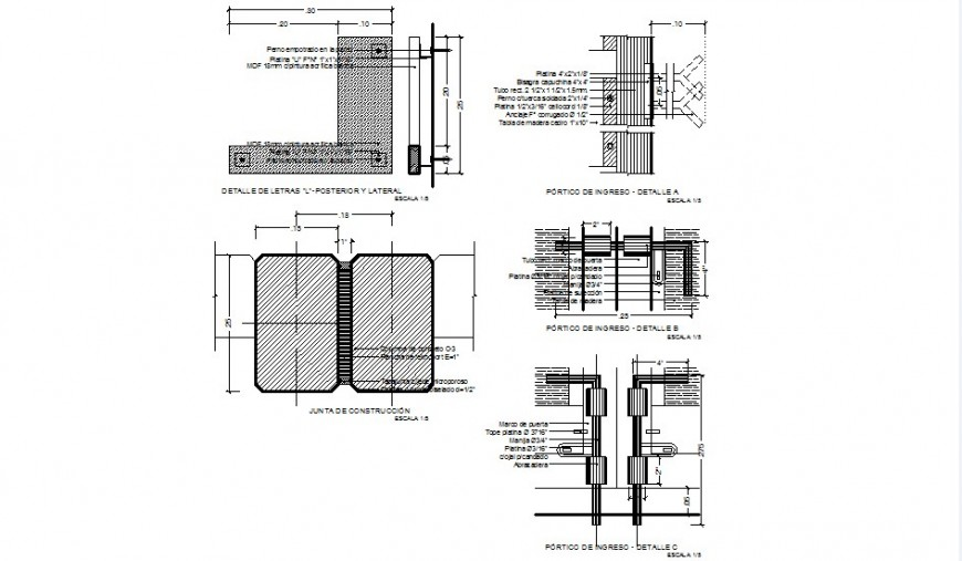 Detail for in come portico autocad file
