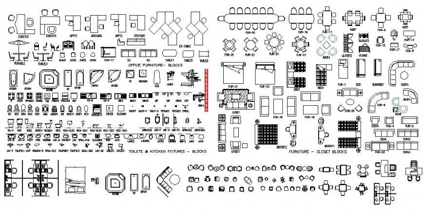 Detail furniture and sanitary blocks autocad drawing