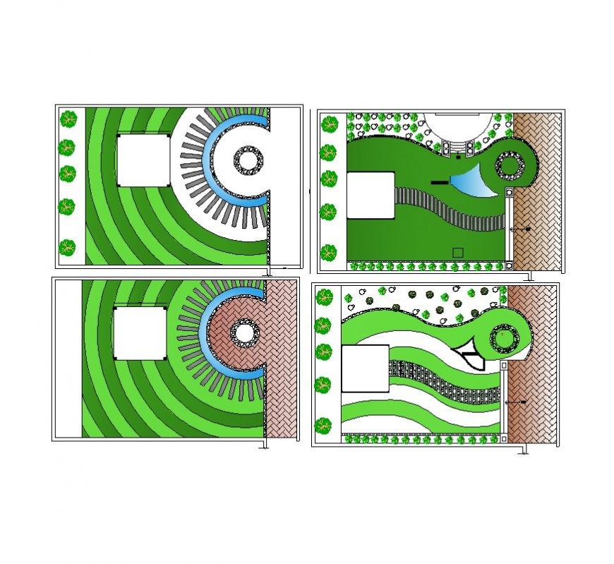 Detail garden area drawing in autocad