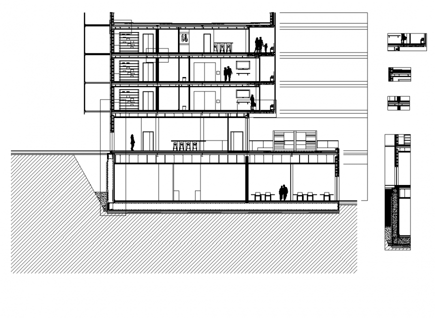 Detail gym building section and elevation layout file