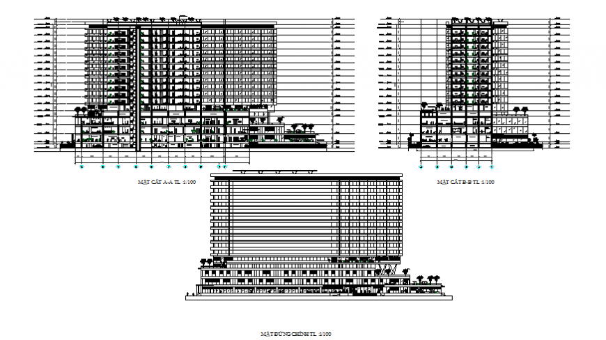Detail high rise building elevation layout file
