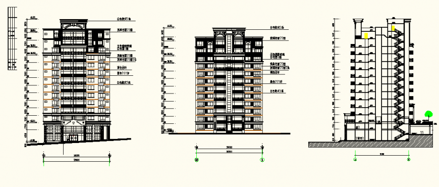 Detail high rise building plan view and elevation autocad file