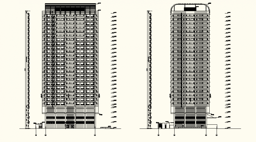 Detail high rise residential housing elevation and plan layout file