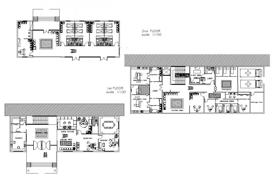 Detail hospital building Structure 2d view layout plan
