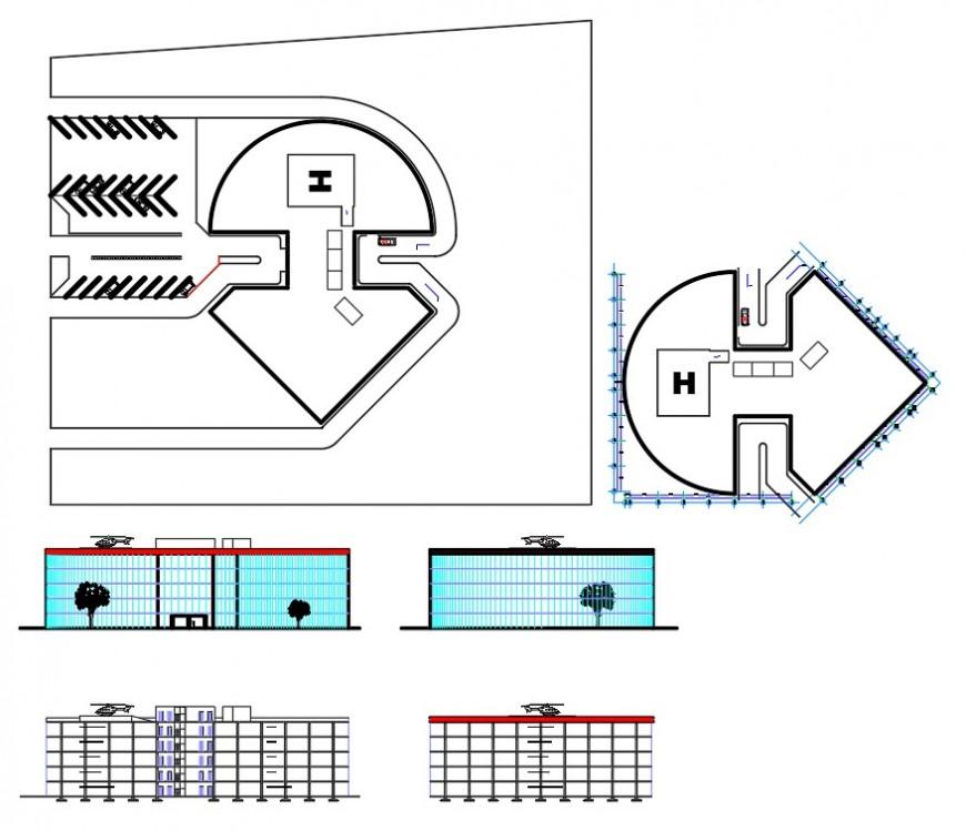 Detail hospital plan dwg file