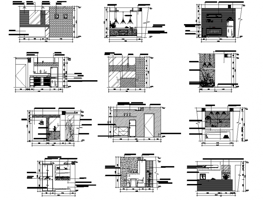 Detail hotel elevation and section layout file