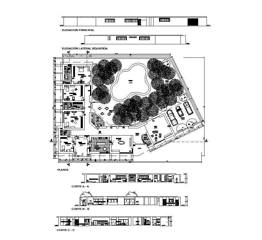 Detail housing structure plan view, elevation and section layout Autocad file
