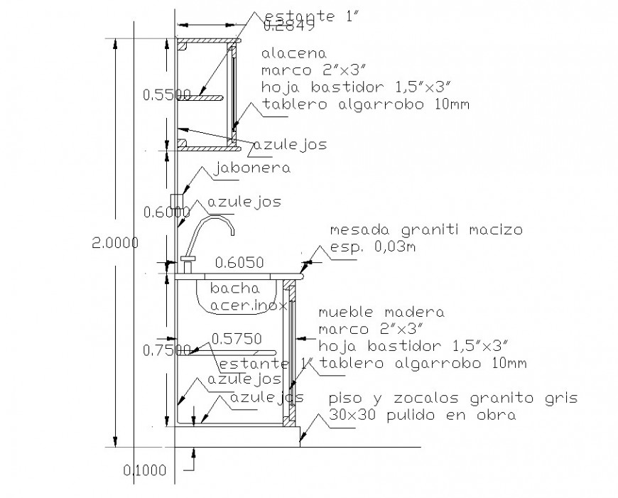 Detail kitchen furniture section drawing in dwg file.