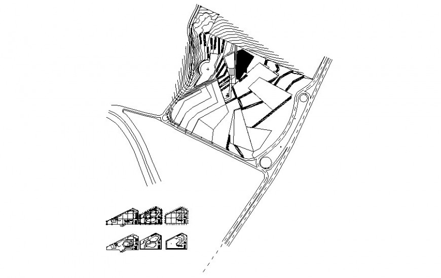 Detail landscaping area detailing in dwg format
