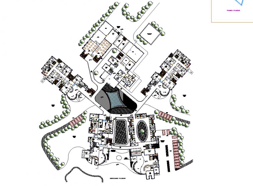 Detail layout hospital commercial building plan autocad file