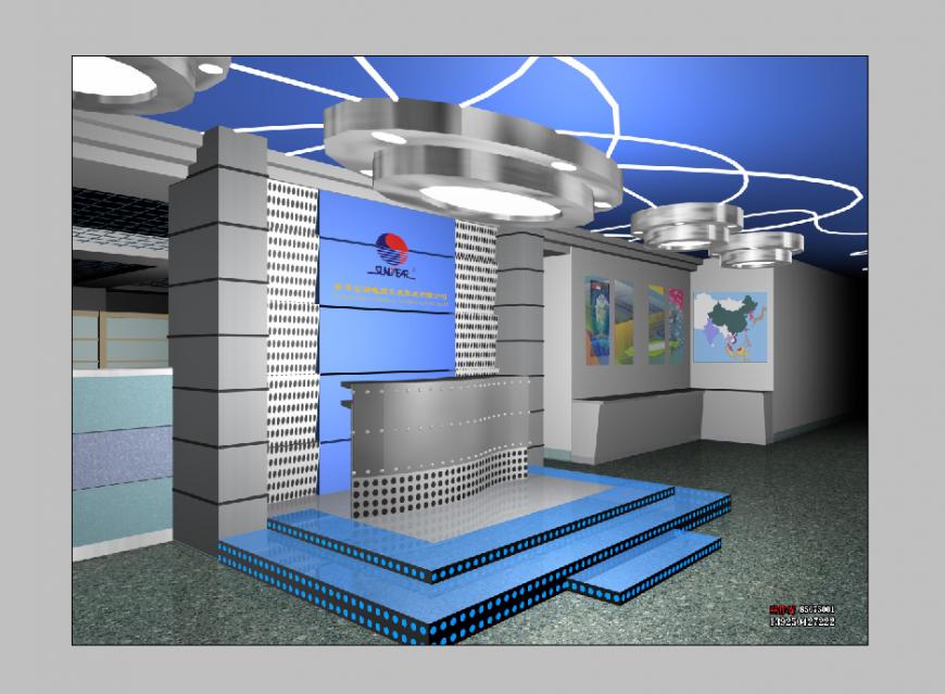 Detail mobile store building elevation 3d model layout Photoshop file