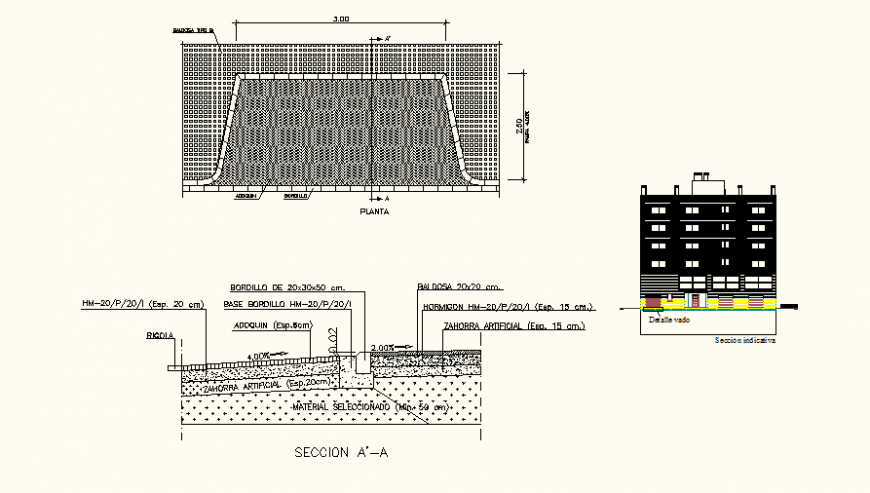 Detail multifamily housing residential building elevation and section dwg file