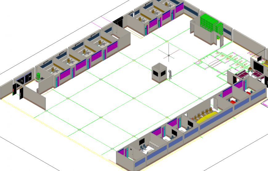 Detail of 3 D cabin modal autocad file