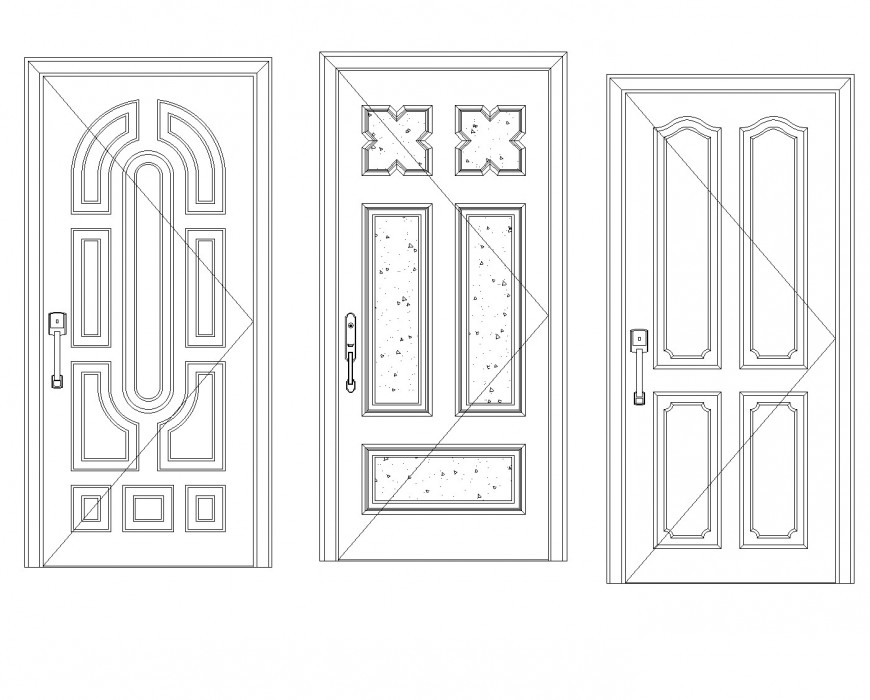 Detail of Aluminum door plan dwg file