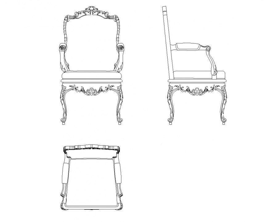 Detail of arc design Armchair CAD Block dwg file
