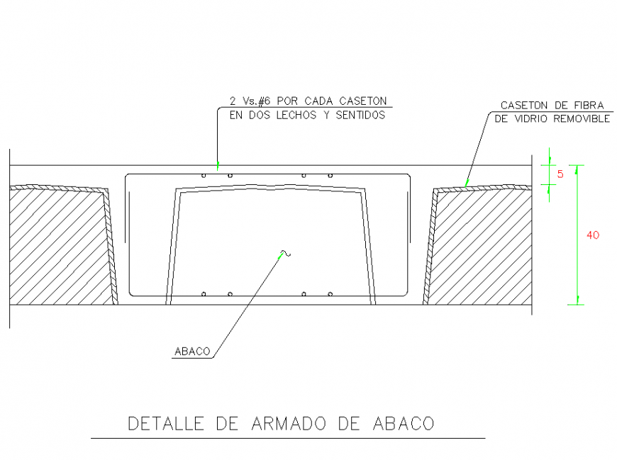 Detail of armed abacus section detail dwg file